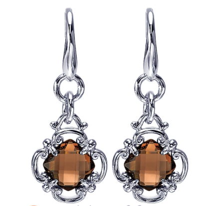 Gabriel & Co. Sterling Silver Drop Earrings with Smoky Quartz
