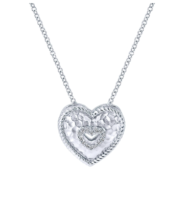 Gabriel & Co. Sterling Silver Heart Necklace with Diamonds