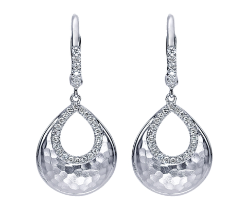 Gabriel & Co. Sterling Silver Teardrop Drop Earrings with Diamonds