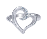 Gabriel & Co. Sterling Silver Heart Ring with White Sapphires