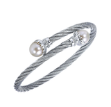 Gabriel & Co. Stainless Steel Cable Bangle with Sterling Silver & Pearl