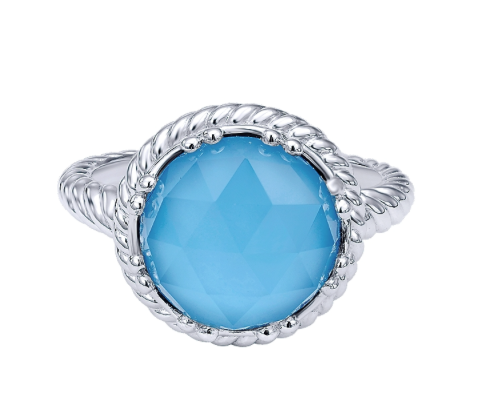 Gabriel & Co. Sterling Silver Rock Crystal & Turquoise Ring