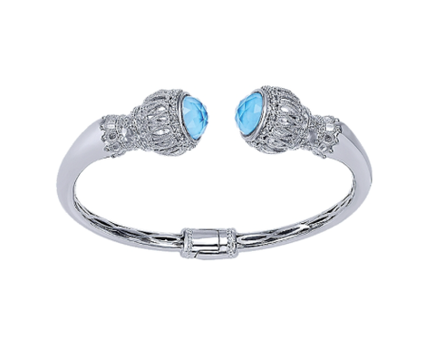 Gabriel & Co. Stainless Steel Bangle with Sterling Silver & Turquoise Rock Crystal