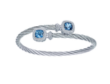 Gabriel & Co. Stainless Steel Cable Bangle with Sterling Silver & Swiss Blue Topaz
