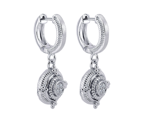 Gabriel & Co. Sterling Silver Rope Drop Earrings with Diamonds