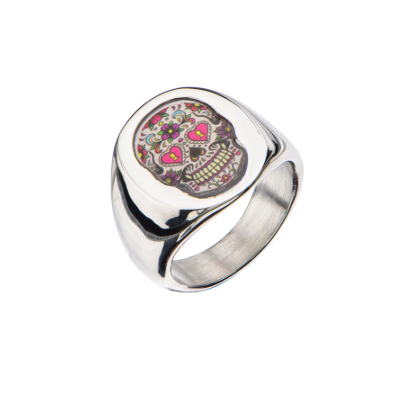 Stainless Steel Day of the Dead Flowers SugarSkull Ring