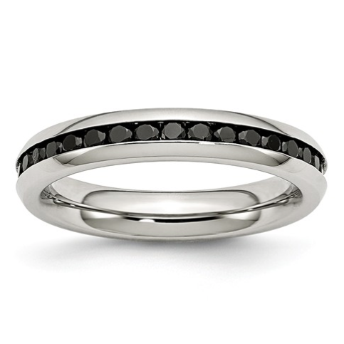 Stainless Steel & Black Cubic Zirconia Ring
