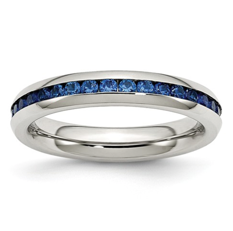 Stainless Steel & Blue Cubic Zirconia Ring