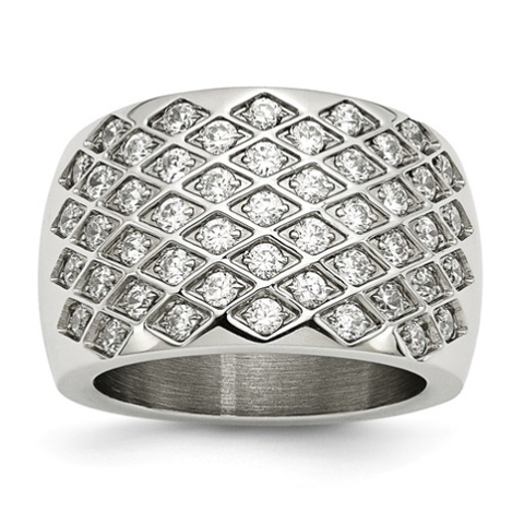 Stainless Steel Clear Bling Ring