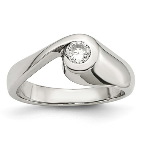 Stainless Steel Swirl Ring with Cubic Zirconia