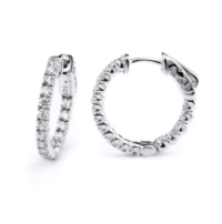 Sterling Silver Inside/Outside Lock-it Hoop Earrings with Cubic Zirconias