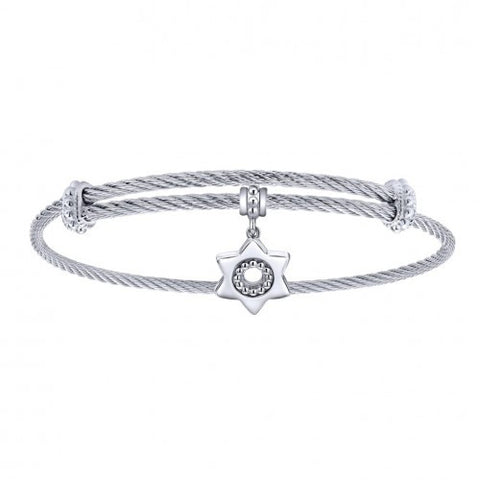 Gabriel & Co. Star of David Charm Bangle