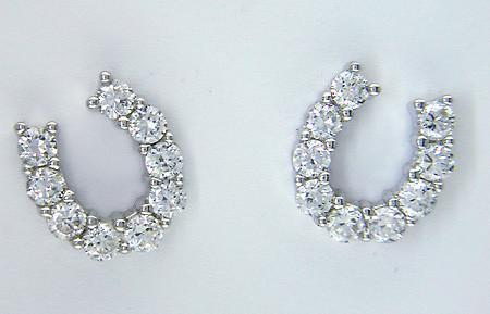 Sterling Silver & Cubic Zirconia Horseshoe Studs