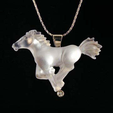 Cast Glass Spirit Horse in 14kt white gold
