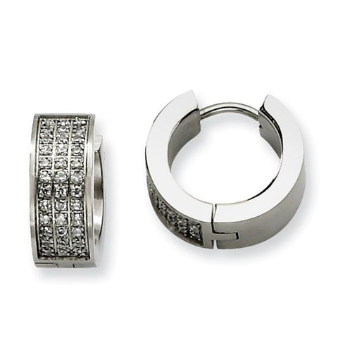Stainless Steel Brushed Huggies with Cubic Zirconias