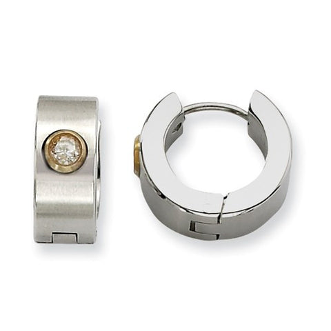 Stainless Steel Brushed Huggies with Gold Bezel Set Cubic Zirconia