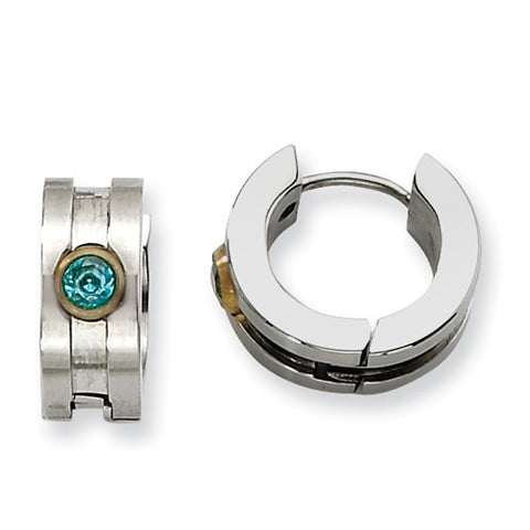 Stainless Steel Brushed Huggies with Gold Bezel Set Teal Cubic Zirconia