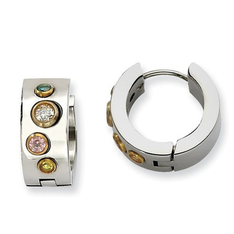 Stainless Steel Brushed Huggies with Gold Bezel Set Multi-Color Cubic Zirconia