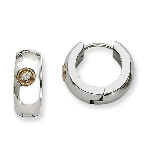 Stainless Steel Shiny Huggies with Gold Bezel Set Cubic Zirconia