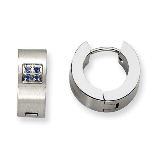Stainless Steel Brushed Huggies with Blue Cubic Zirconias