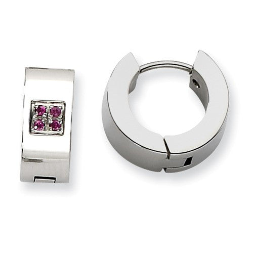 Stainless Steel Brushed Huggies with Pink Cubic Zirconias