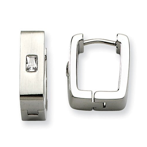 Stainless Steel Brushed Square-Shape Huggies with Cubic Zirconia