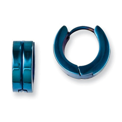 Stainless Steel Blue IP-Plated Hinged Hoop Earrings
