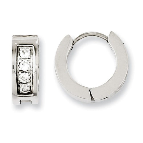 Stainless Steel Shiny Huggies with Cubic Zirconias