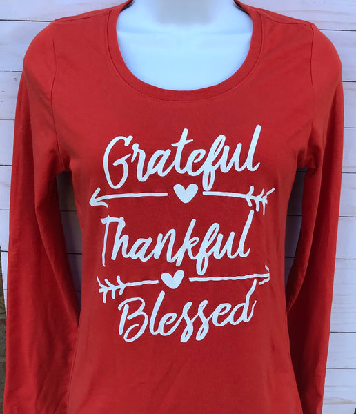 Grateful Thankful Blessed Thanksgiving T-Shirt
