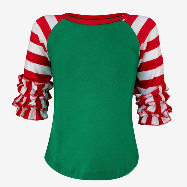 Christmas Striped Red and Green Ruffle Raglan Girl Icing shirt