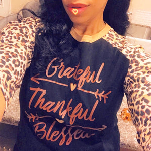 Grateful Thankful Blessed Cheetah Print Thanksgiving T-Shirt