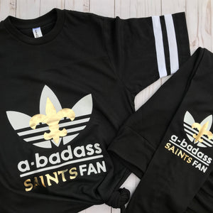 a-badass Saints fan jersey tee with Leggings