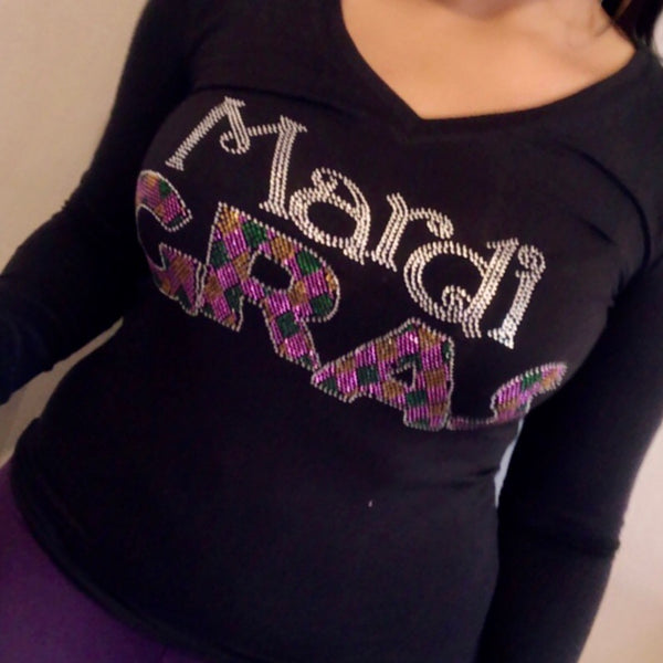 Mardi Gras Rhinestone V Neck Long Sleeve