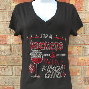 I'm A Rockets & Wine Kinda Girl T-Shirt