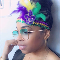 Mardi Gras Feather Stretch Headband With Fleur De Lis