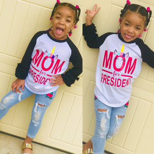 MoM For President Raglan Style T-Shirt