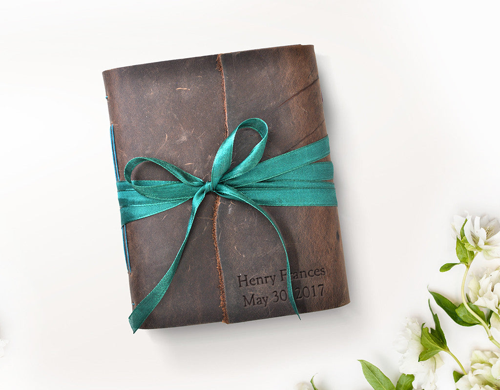 Custom embossing baby book leather journal