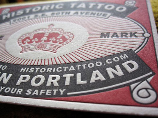A 5 step guide to understanding letterpress printing jenni bick this business card for a tattoo parlour in portland uses negative space cleverly to create the impression of three colour print while only using two reheart Gallery