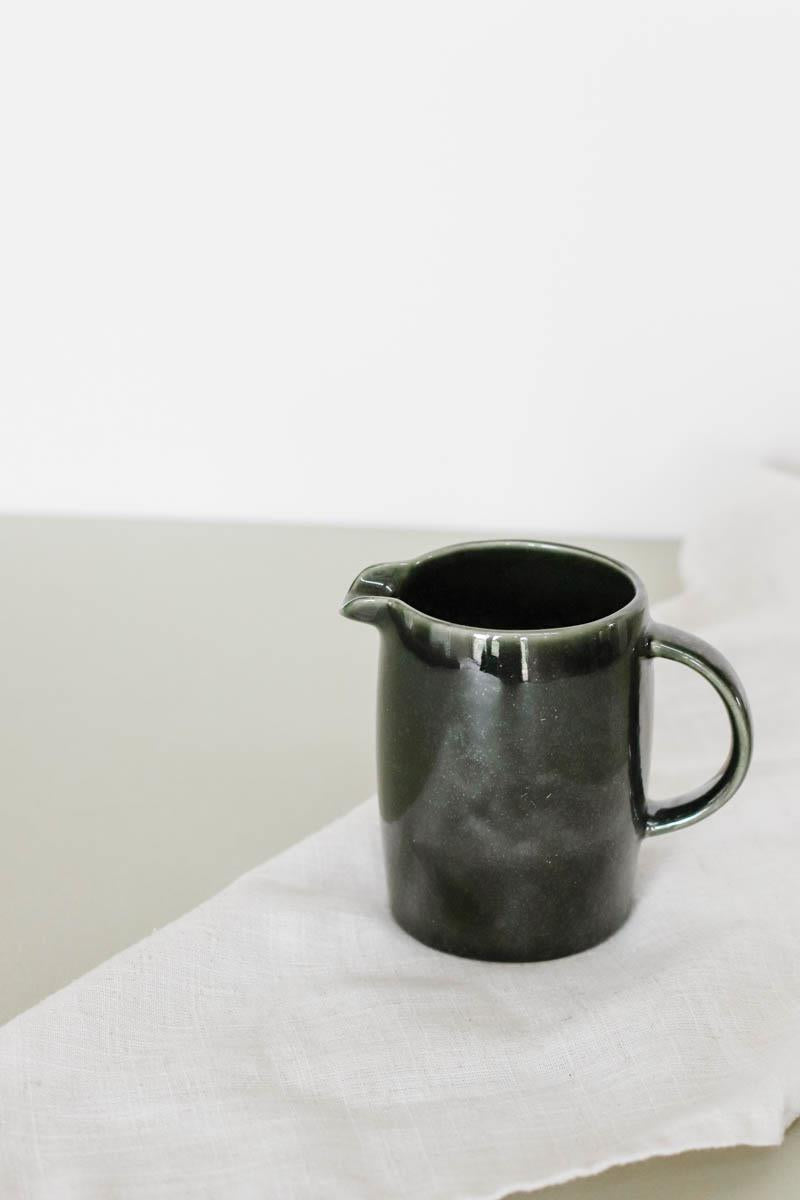 Green Stoneware Pitcher
