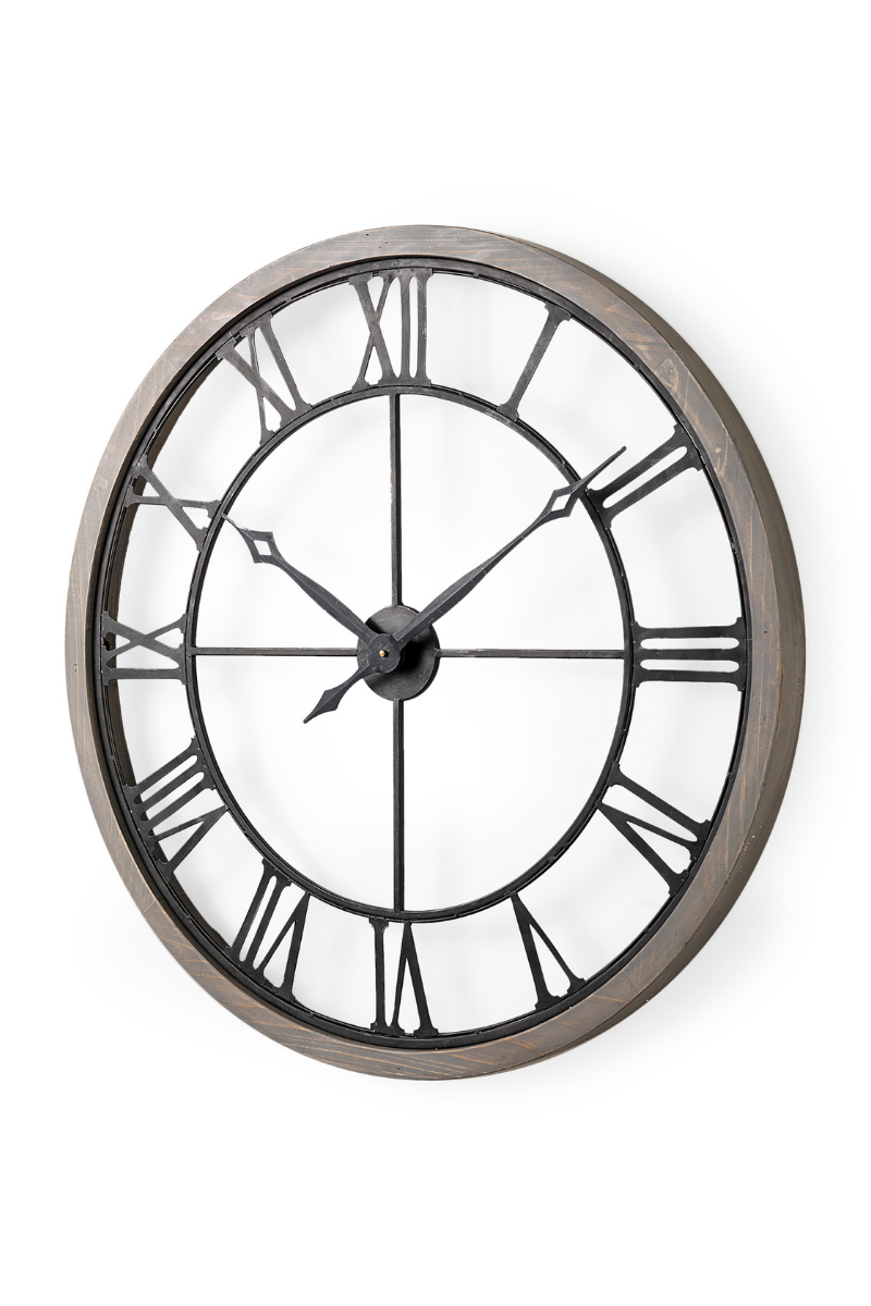 Mething Gray Farmhouse Clock Large
