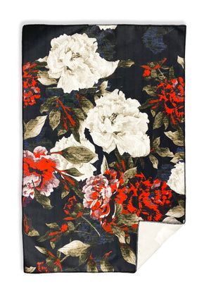 Black Floral Hand Towel