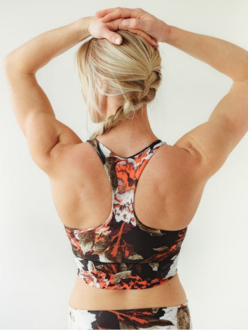 Image of Black Floral Longline Sports Bra