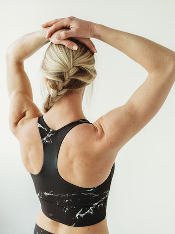 Image of Black Marble Longline Sports Bra