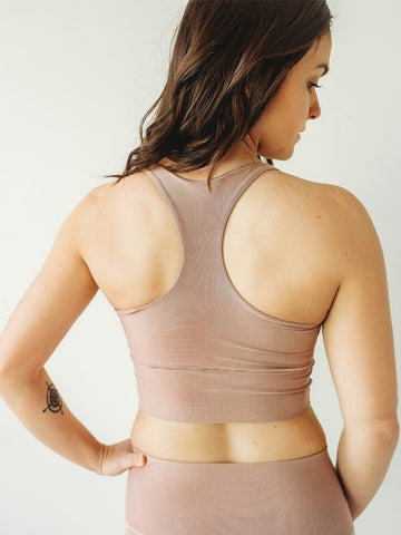 Image of Blush Microstripe Longline Sports Bra