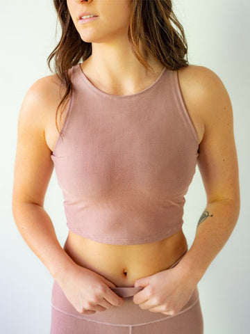 Blush Microstripe Crop Top