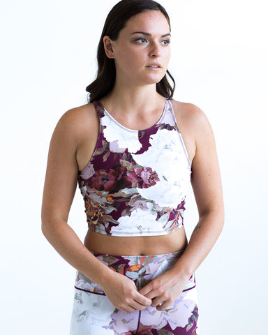 Image of Burgundy Floral Crop Top *FINAL SALE*