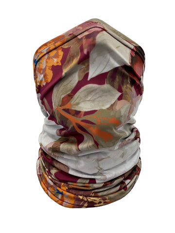 Image of Burgundy Floral Neck Gaiter