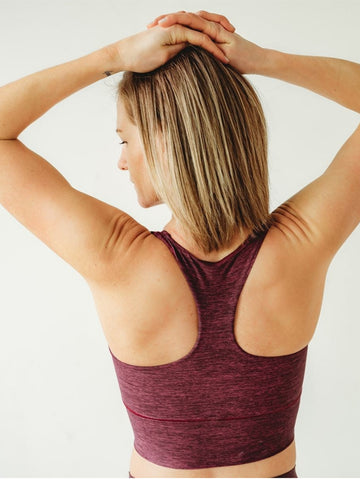 Image of Burgundy Native Longline Sports Bra