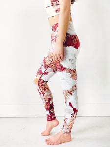 Burgundy Floral Yoga Pants
