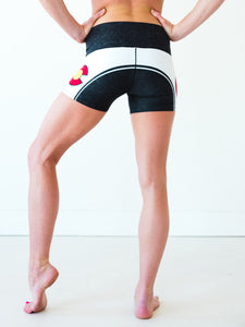 Black Colorado Flag Yoga Shorts